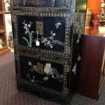Oriental scholar's cabinet with one drawer and two cabinet spaces. $575.
