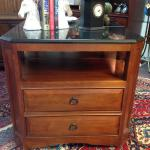 Thomasville nightstand in the mission style with two drawers and a shelf. Two available.
