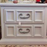 Refurbished two-drawer nightstand in pearl white. $145.00