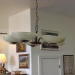 FROM AN ARIZONA BED & BREAKFAST - EARLY ELECTRIC HANGING CHANDELIER WITH ORIGINAL GLASS SHADES $275