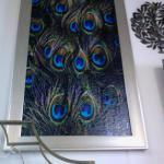 Large framed peacock picture. $65.00