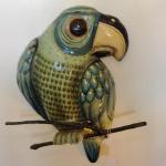 "SerMel papier-mache parrot. From the folk-art workshop of Sergio Bustamante and Melquiades Preciado. 18"" tall. $150.00"