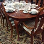 Cherry dining set with one leaf and six chairs in the Queen Anne style. $595