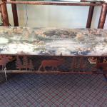 Woodland metal and cloth bench